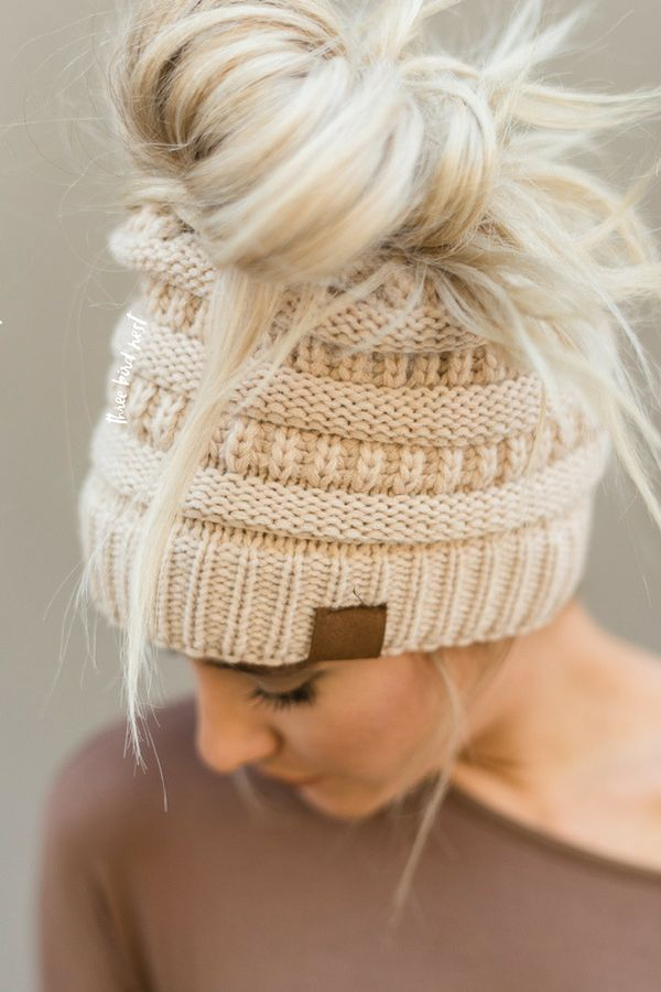 Messy Bun Knitted Beanie Hat - Oatmeal