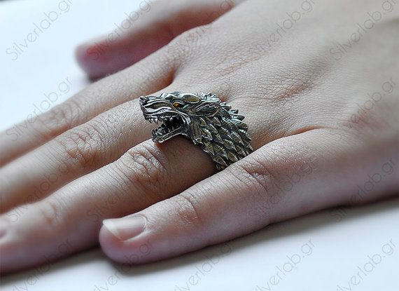 Direwolf House of Stark Ring Game of Thrones by SilverLabCreations
