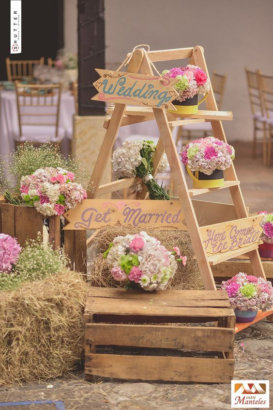 rustic country hay bale wood crates wedding decor / http://www.deerpearlflowers.com/country-rustic-wedding-ideas/