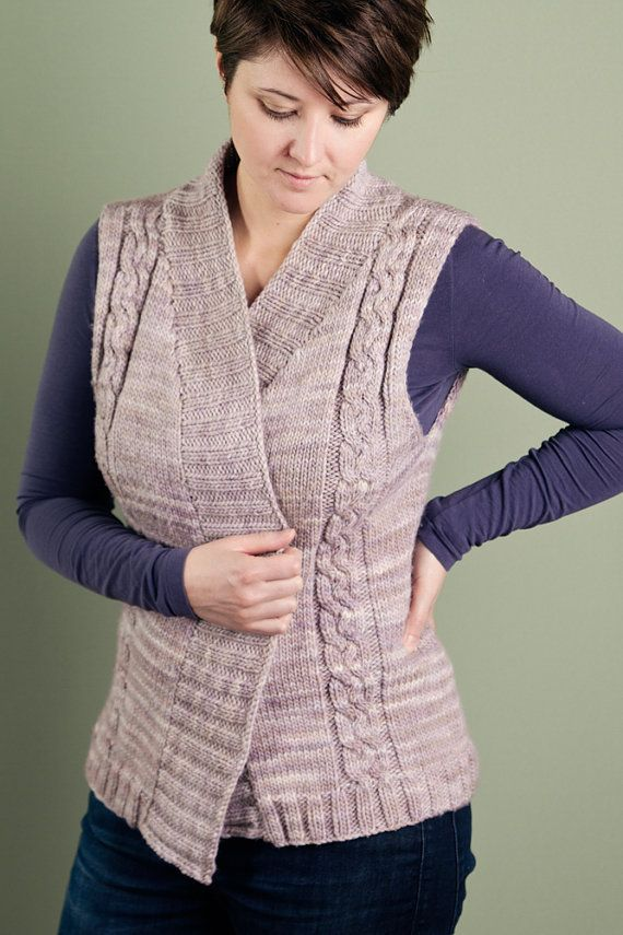 KNITTING PATTERN PDF for Adult Cabled Vest with by AddiesmaDesigns, $6.25