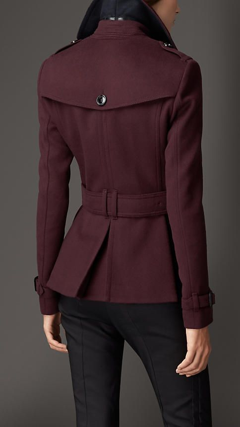 Wool Cashmere Trench Jacket in deep claret