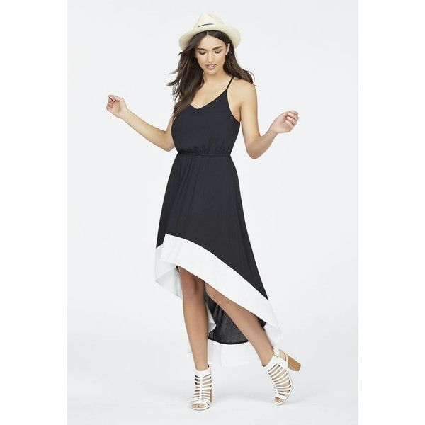 Justfab Midi/Maxi High Low Colorblock Dress ($40) ❤ liked on Polyvore featuring dresses, black, rayon dress, hi low maxi dress, midi dress, color block maxi dress and cross back maxi dress