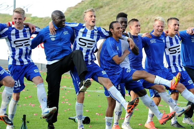 Esbjerg gets the trophy and celebrate their advancement to Superligaen on Monjasa Park in Fredericia.