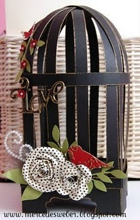 Make a bird cage out of scrapbook paper