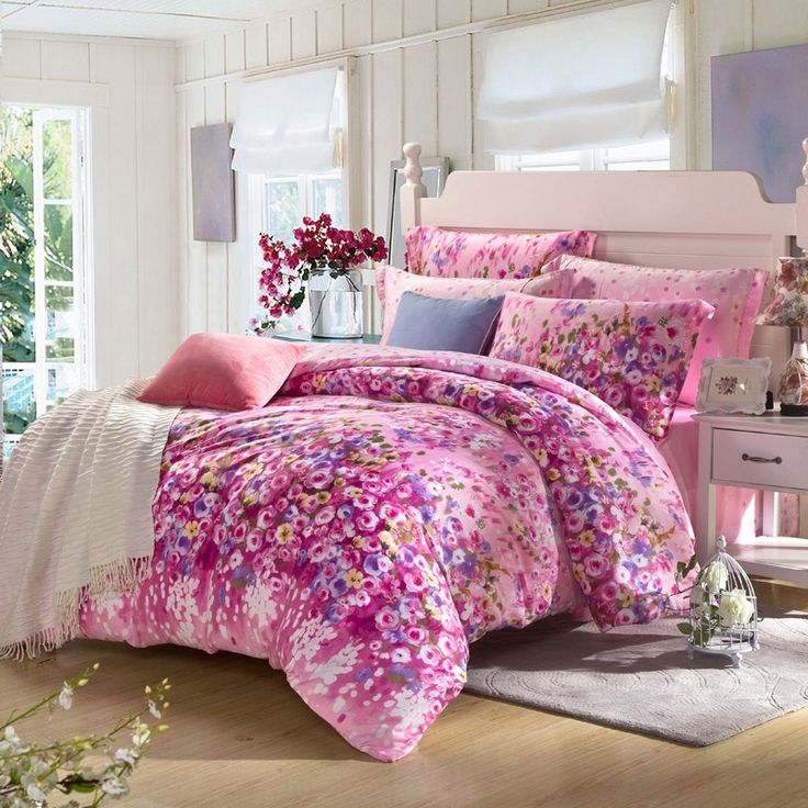 Red-violet and Pink Oriental Flower Spring Garden Plant Vintage Country Chic Asian Inspired Warm Color 100% Tencel Full, Queen Size Bedding Sets - EnjoyBedding.com