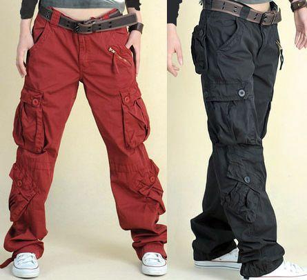 khaki cargo pants women Loose casual overalls pants female trousers multi pocket pants