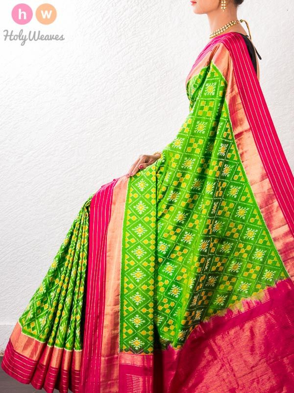 #Green #Handwoven #Katan #Silk #Pochampally #Saree #HolyWeaves