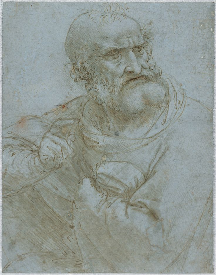 Half-Length Figure of an Apostle by Leonardo da Vinci, silverpoint drawing with pen and brown ink on blue prepared paper, circa 1493-1495