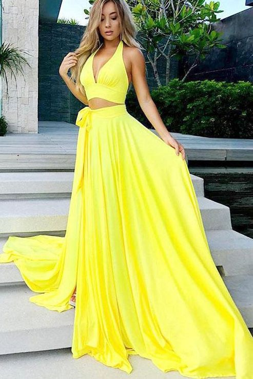 df8552ebee Simple Two Pieces Yellow Halter V-neck Long Prom Dress