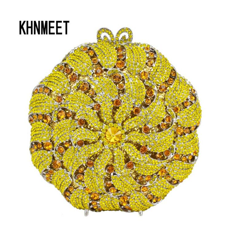 Aliexpress.com : Buy Yellow Luxury Evening Clutch Bag Diamond Crystal Clutches Party Purse for Prom Ladies Round Wedding Bridal Bling Banquet Bag 178 from Reliable bag japan suppliers on KHNMEET Factory Store