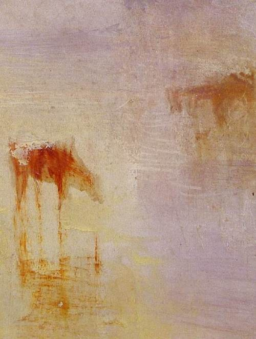 J.M.W. Turner. One of the Petworth series showing how Turner used rough sploshes of paint to suggest that the world before him was dissolving in light.