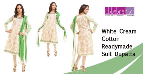 White Cream Cotton Readymade Suit Dupatta in @ $63.95 AUD from collections of over 4000 unique products - design, colour and fabric scheme of ‎Chhabra555‬ in ‪Australia‬.