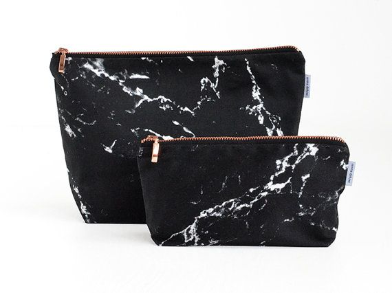 MARBLE Toiletry bag // black white marble rose gold by rennadeluxe