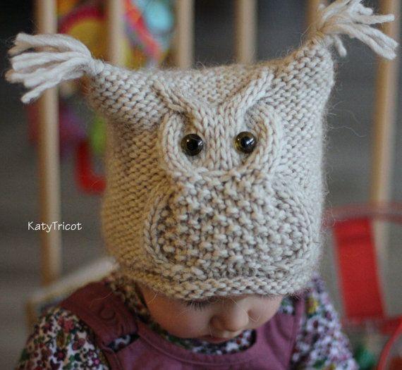 Muster stricken Mütze Eule Größen: eine kleine Kind von KatyTricot