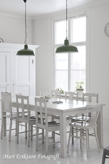 Green Pendant Duo White Dining RoomsWhite