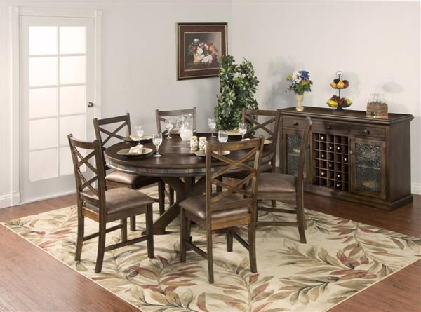 savannah antique charcoal wood 60 inch round table wlazy susan - 60 Inch Round Dining Table