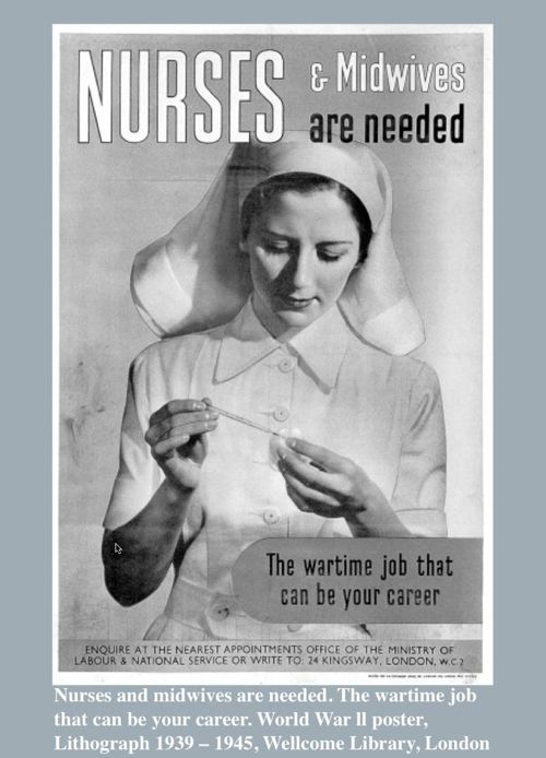 World War II poster about nurses and midwives needed in the UK
