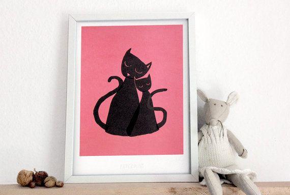 Zwarte katten  kunst afdrukken A4 / A3 van PapermintPaper op Etsy