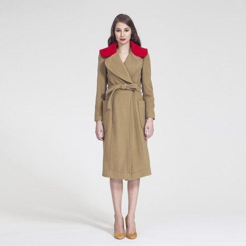 f/w 2016 - Vlněný kabát s kontrastním límcem