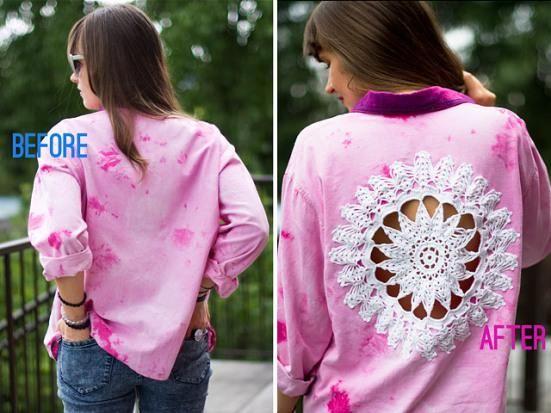 DIY  DOILY CRAFTS : DIY: Doily Embellished Shirt