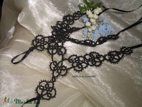 AMÉLIA fekete hajócsipke láb- vagy kézékszer, horgolt , Esküvő, Ékszer, óra, Ékszerszett, Esküvői ékszer, Meska