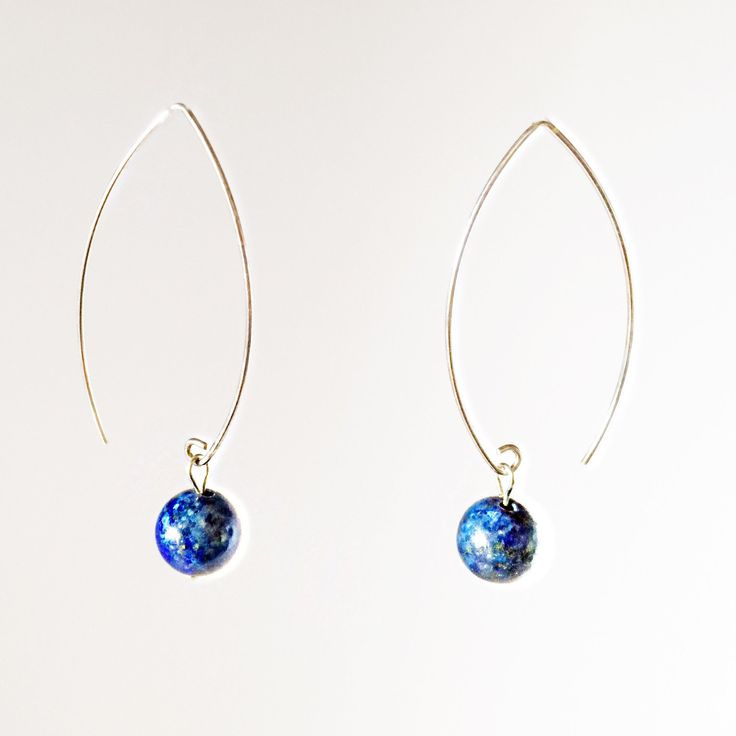 Women gift. Blue lapis and sterling silver earrings