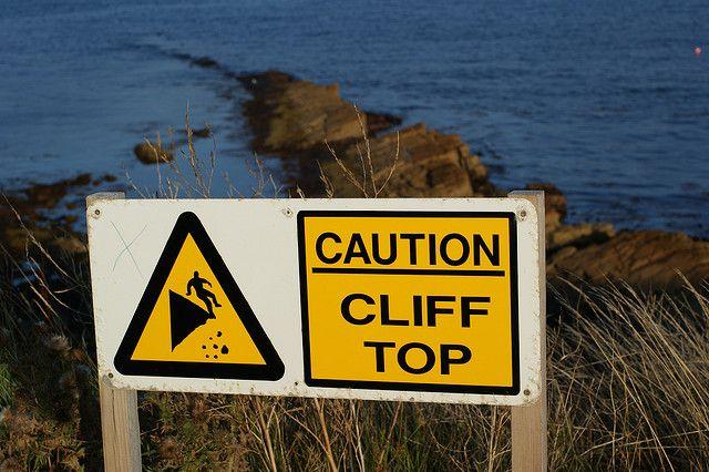 Caution cliff top