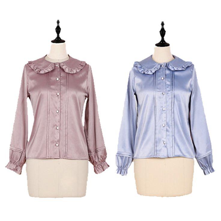 Kawaii Lolita Girl Satin Blouse Chiffon Shirt Ruffles Peter Pan Collar 2017 Women Tops and Blouses Blusas Purple Pink & Blue #Satin blouses http://www.ku-ki-shop.com/shop/satin-blouses/kawaii-lolita-girl-satin-blouse-chiffon-shirt-ruffles-peter-pan-collar-2017-women-tops-and-blouses-blusas-purple-pink-blue/