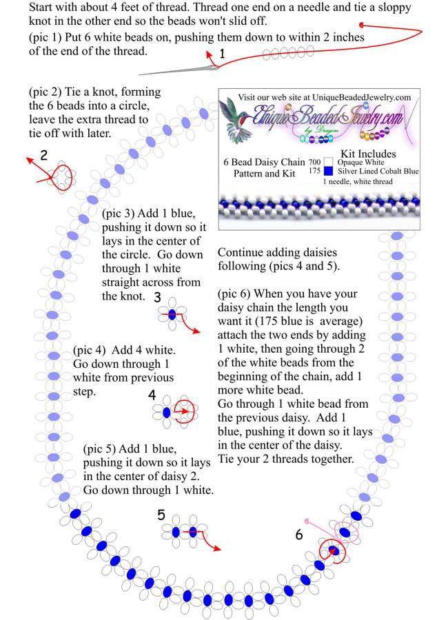 Free Daisy Chain 6 Bead Necklace Pattern Crafts