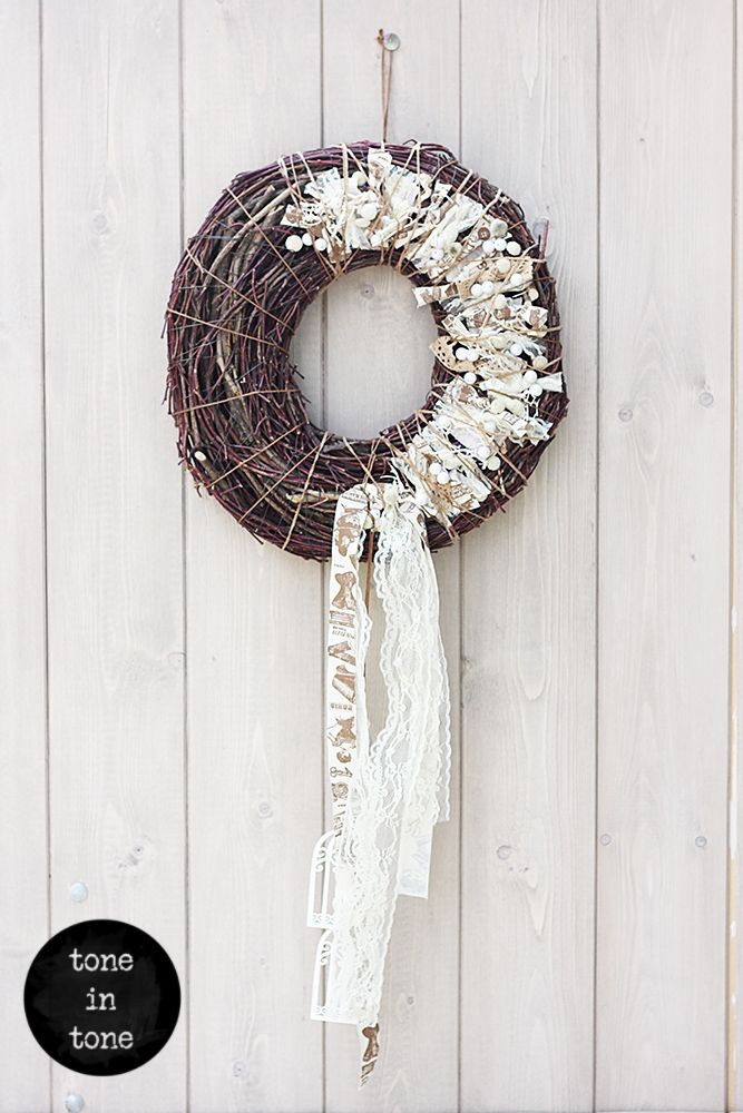 H.O.M.E. #Dress #Up #Your #Door or #Wall with this #DIY #nature #white #wreath #handmade #interior #decoration | by toneintone
