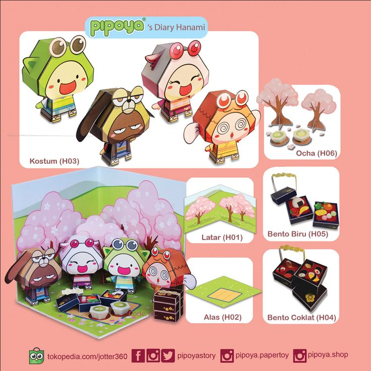 Things to complete your Hanami Diorama Papertoy PiPoYa cute Gift and craft