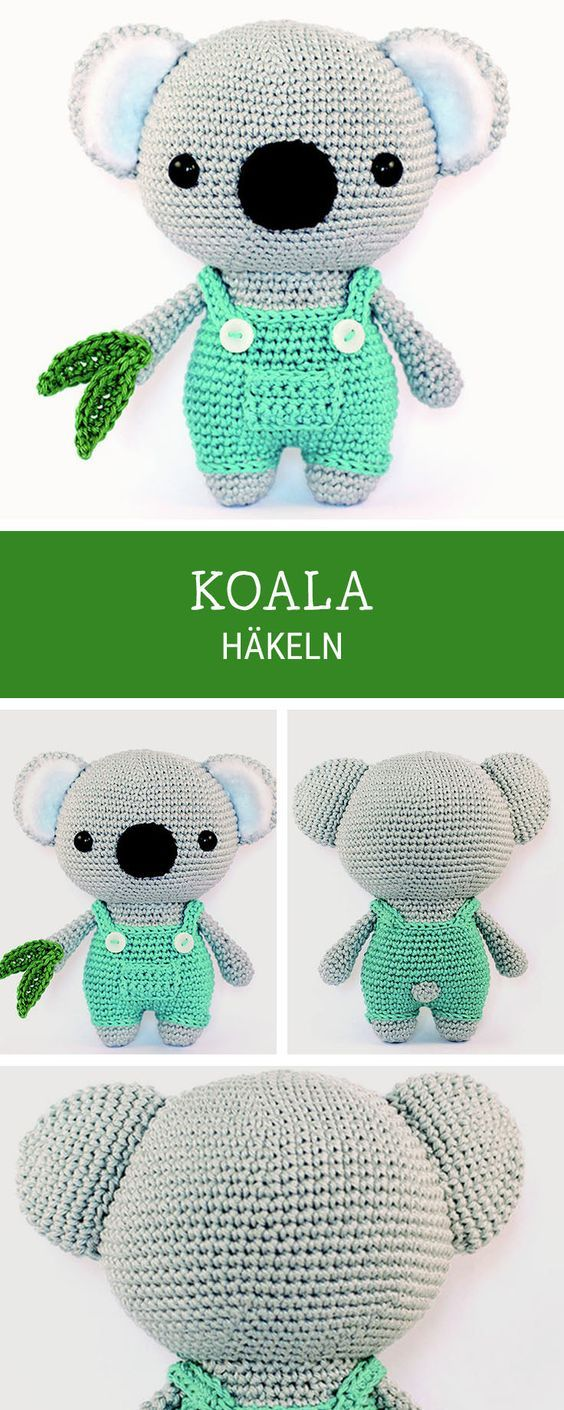 Amigurumi Anleitung für einen süßen Koala Bär, Häkelanleitung / diy crochet...