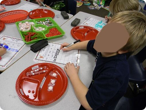 creating numbers using divided plates for ones, tens, hundreds, thousands-more divisions the higher the number