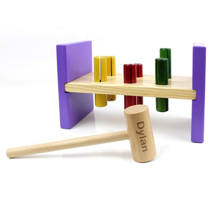 Wooden Hammer and Bench Toy. Personalise this Wooden Hammer and Bench Toy with a name up to 10 characters. The childs name will appear on the wooden hammer. Wooden puzzles make practical learning tools for young children by engaging in sounds, bright colours, tactile shapes and most importantly lots of fun! £14.99 Free UK Delivery
