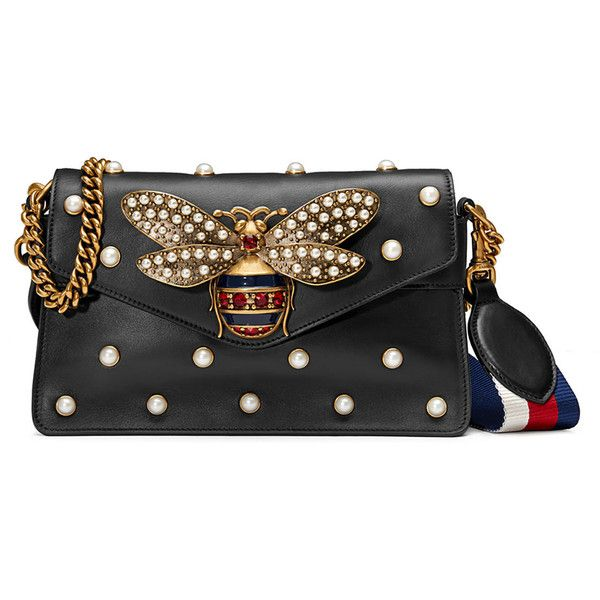 Gucci Broadway Pearly Bee Shoulder Bag ❤ liked on Polyvore featuring bags, handbags, shoulder bags, gucci purse, shoulder bag handbag, gucci, shoulder handbags and shoulder bag purse