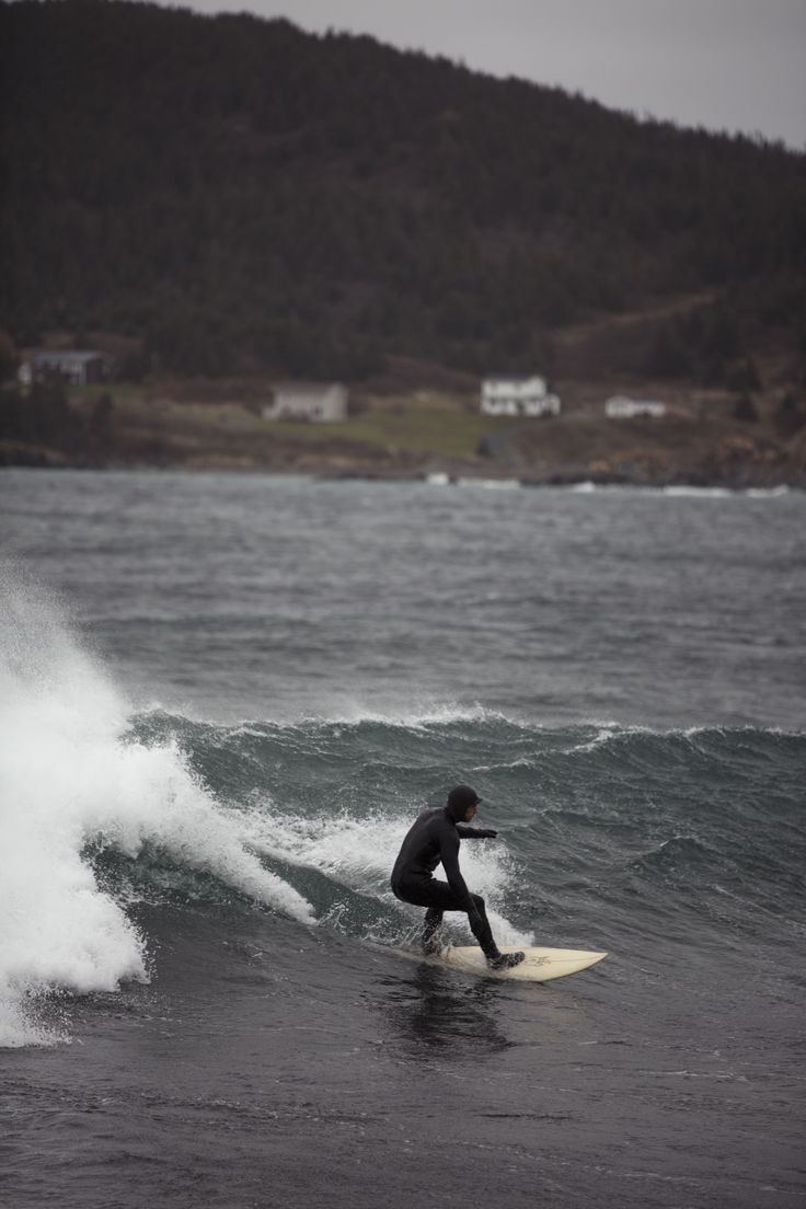 Surfing during a nice swell in the North Atlantic Ocean. #surfing #coldwatersurf #canada #surf