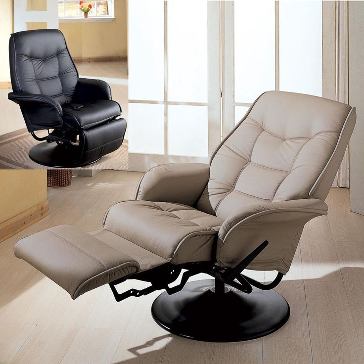 Taupe Black Leatherette Flair Tapered Arms Fully Reclined Swivel Recliner  Chair. Swivel Recliner ChairsLiving Room ...