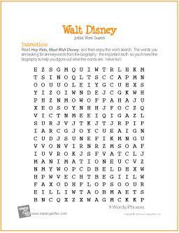 Walt Disney | Free Word Search Worksheet - http://makingartfun.com/htm/f-maf-printit/disney-word-search-worksheet.htm