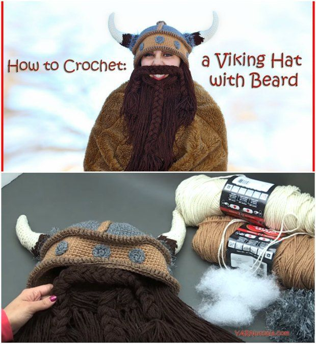 Incredible crochet viking hat with removable beard. Free pattern and tutorial shows you exactly how to make it.