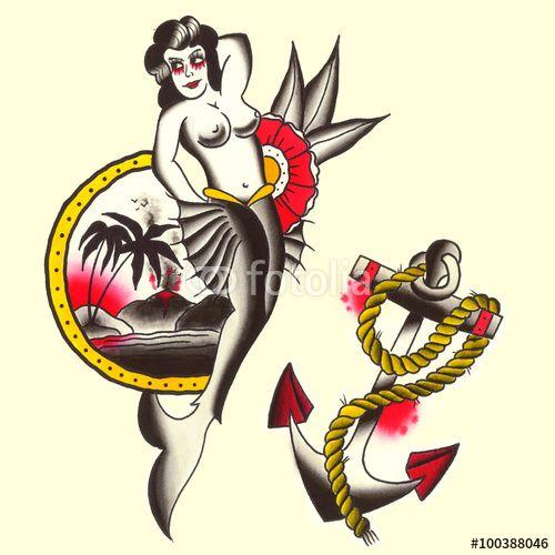Sirena con ancora Illustrazione Tatuaggio in stile old school