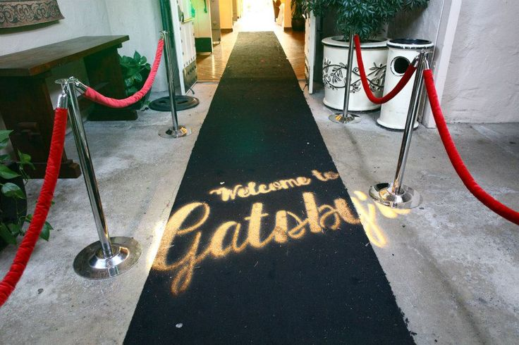 Custom Entrance -- Great Gatsby Black carpet with gold/ivory/or black ropes