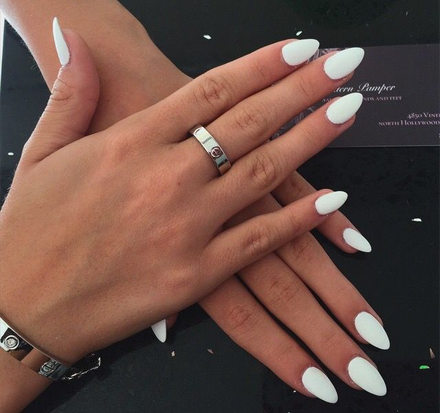 Matte white & almond shape. Definably getting this for my next nail appointment.