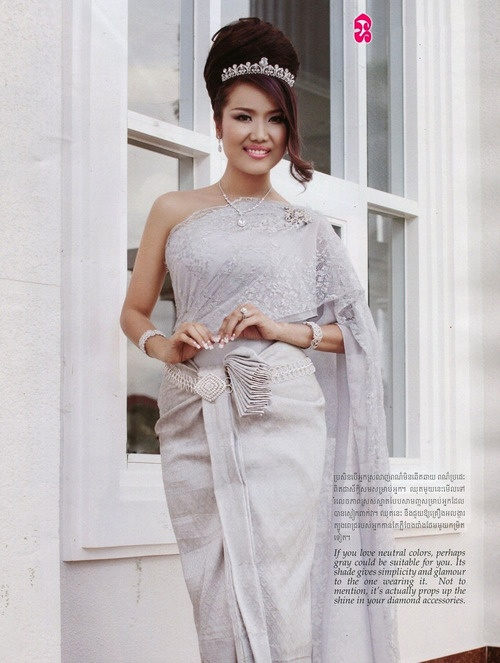 Image gallery khmer wedding dress silver for Khmer dress for wedding party