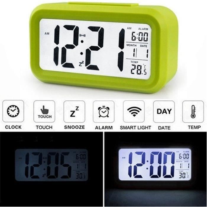 MOONAR® Alarme LCD Green Light Case Horloge numérique Temps calendrier thermomètre rétro-éclairage blanc - Achat / Vente réveil sans radio - Soldes* d'hiver dès le 6 janvier Cdiscount