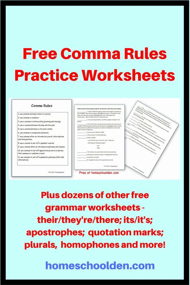 Free Comma Rules Practice Worksheets At This Post You Will Find Links To Several Different Sets Of Comma Rules Pract Comma Rules Grammar Worksheets Quotations [ 1102 x 735 Pixel ]