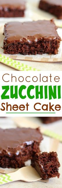 Chocolate Zucchini Sheet Cake - Just like a Texas Sheet Cake, but with the addition of Zucchini.  This cake is AMAZING!
