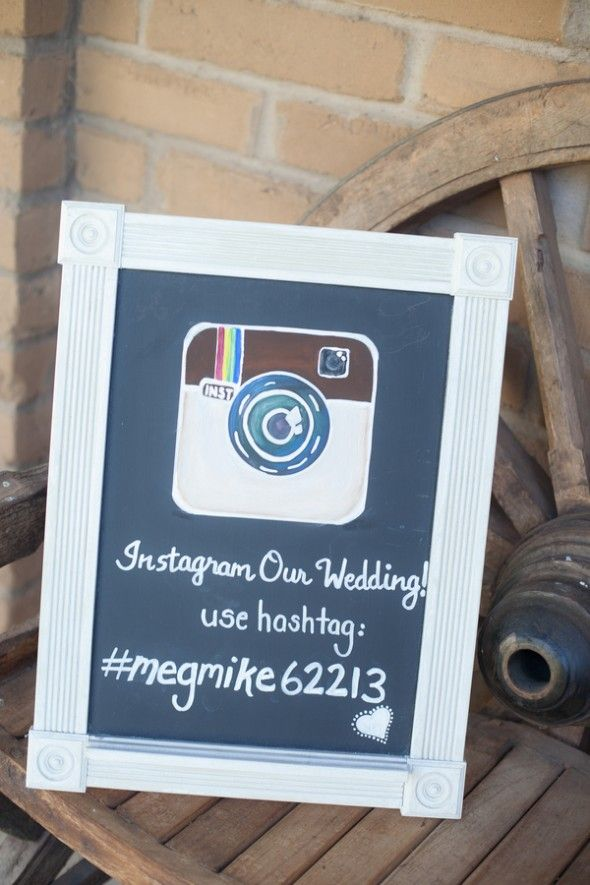 This is such a cool idea!! Your guests can take pictures of the wedding and you can look at all of them through the hastag ... <3 Instagram Wedding Sign