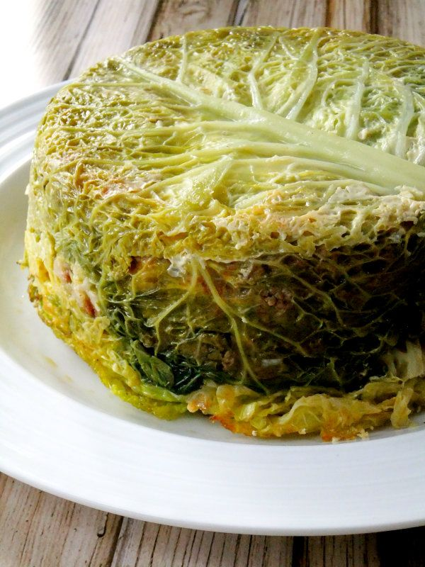 Stuffed Cabbage Cake with Marinara Sauce