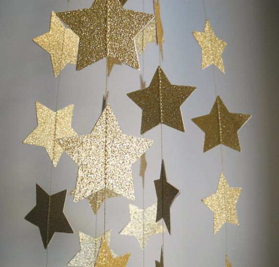 Gold Glitter Star Garland on Etsy.com by HoopsyDaisies A star studded party!
