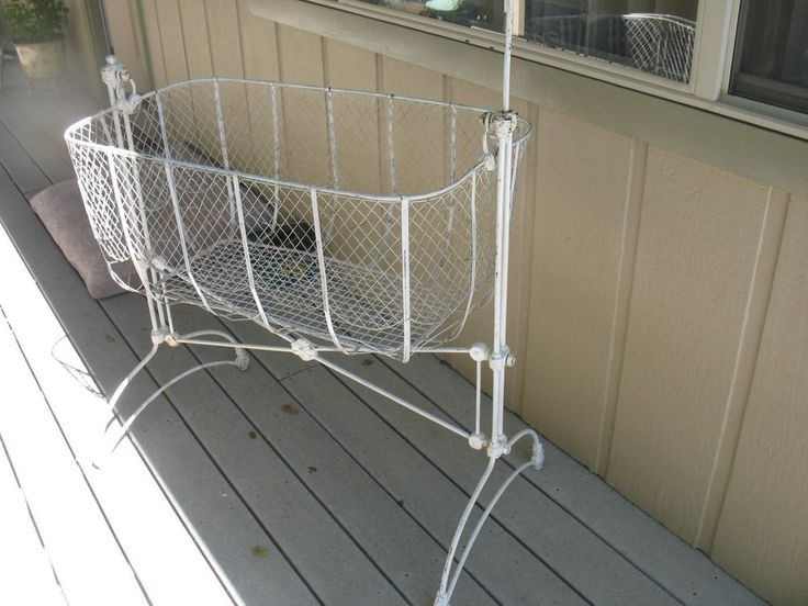 RARE ANTIQUE FRENCH WROUGHT IRON VICTORIAN NURSERY BASSINET CRADLE #Nomarkings